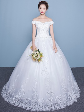 Ericdress Modest Beaded Off The Shoulder Ball Gown Wedding Dress