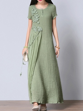 Ericdress Solid Color Patchwork Round Neck Maxi Dress