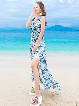 Ericdress Beach Sleeveless Backness Print Maxi Dress