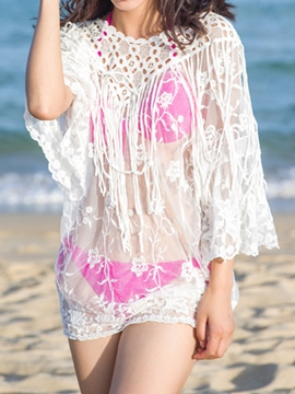 Ericdress White See Through Tassel Jacquard Cover-Up