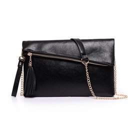 Ericdress Solid Color Tassel Chain Crossbody Bag