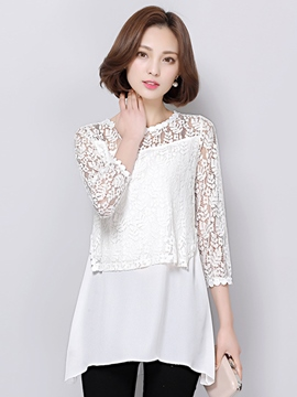 Ericdress Slim See-Through Lace Blouse