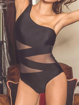 Ericdress Black Mesh Patchwork One Shoulder Sexy Monokini