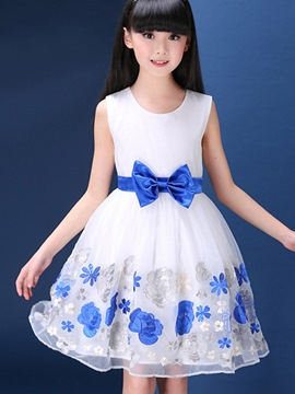 Ericdress Floral Sleeveless Mesh Girls Dress