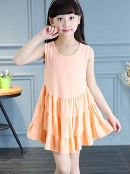 Ericdress Solid Color Pleated Sleeveless Girls Dress