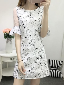 Ericdress Flare Sleeve Mesh Patchwork Straight Casual Dress