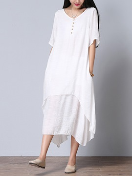 Ericdress Mori Girl Cotton Solid Color Maxi Dress