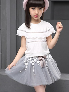 Ericdress Mesh Skirt Girls Outfit