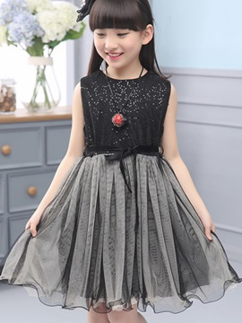 Ericdress Sleeveless Pleated Color Block Girls Dress