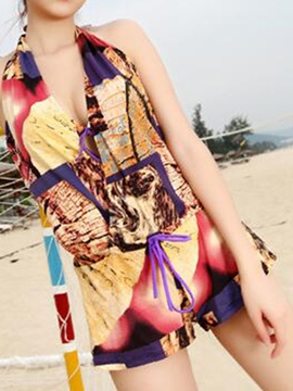 Ericdress Three-Piece of Vintage Print Halt Backless Sweet Swimwear