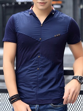 Ericdress V-Neck Button Slim Men's Muscle T-Shirt
