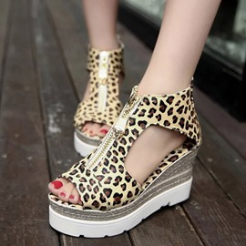 Ericdress Leopard Zipper Peep Toe Wedge Sandals