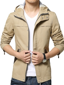 Ericdress Plain Zip Casual Men's Jacket with Hood