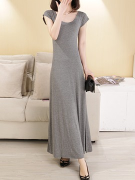 Ericdress Solid Color Open Back Maxi Dress