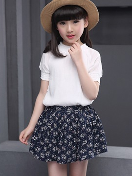 Ericdress Casual Floral Girls Skirt Outfit