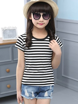 Ericdress Stripe Short Sleeve Girls T-Shirt