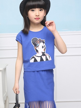 Ericdress Cartoon Short Sleeve Girls Skirt Outfit