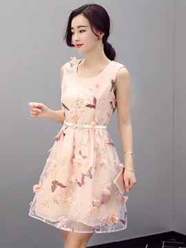 Ericdress 3D Appliques Sleeveless Belt Casual Dress