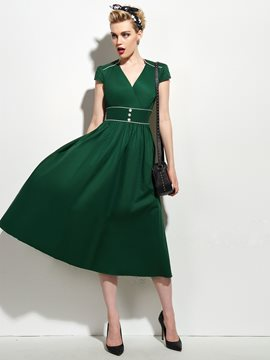 Ericdress Rockabilly Style Green High-Waist Casual Dress