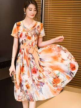 Ericdress Flower Print Round Neck Expansion Casual Dress