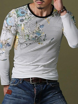 Ericdress Slim Stripe Print Men's T-Shirt
