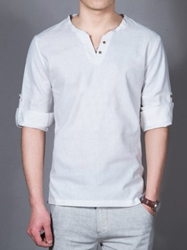 Ericdress Plain Long Sleeve V-Neck Linen Casual Men's T-Shirt