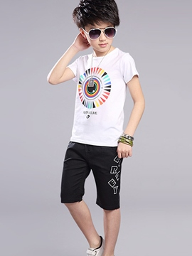Ericdress Colored Printing Color Block Short Sleeve Boys Outfits