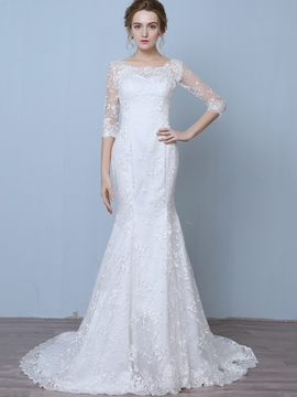 Ericdress Charming Scoop Mermaid Lace Wedding Dress With Sleeves
