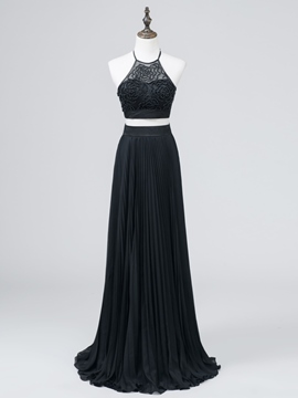 Ericdress A-Line Two Pieces Halter Pearls Long Evening Dress