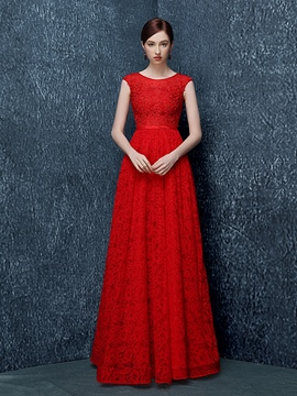 Ericdress A-Line Round Neck Cap Sleeves Appliques Beading Lace Evening Dress