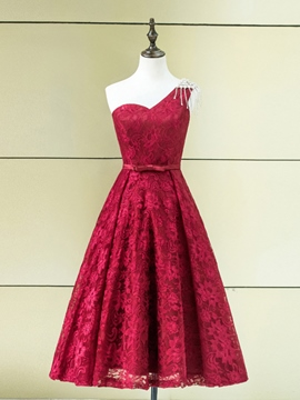 Ericdress One-Shoulder A-Line Crystal Embroidery Lace Tea-Length Homecoming Dress