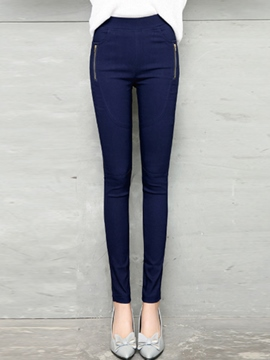 Ericrdess Solid Color Zipper Leggings Pants