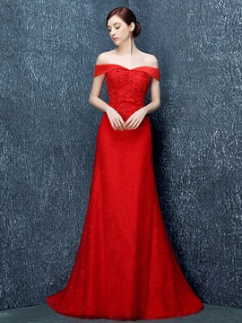 Ericdress Off-the-Shoulder Mermaid Appliques Beading Sweep Train Evening Dress