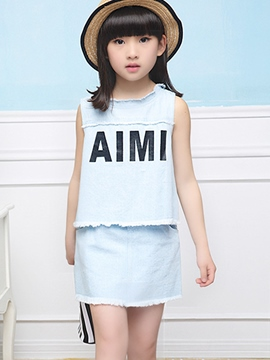 Ericdress Sleeveless Letter Girls Skirt Outfit