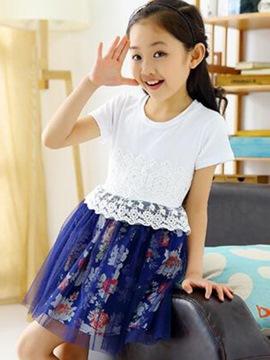 Ericdress Short Sleeve Patchwork Girls Dress