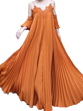 Ericdress Spaghetti Strap Cold Shoulder Soild Color Pleated Maxi Dress