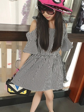 Ericdress Stripe Off Shoulder Girls Dress