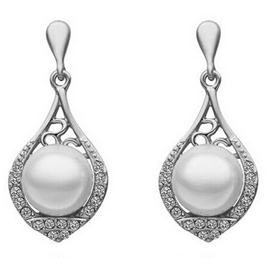 Hollow Out Pipa Pearl Earrings