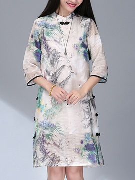 Ericdress Chinese Ethic Print Straight Casual Dress