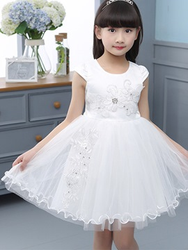 Ericdress Solid Color Mesh Lace-Up Girls Dress