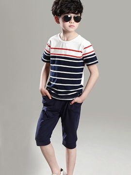 Ericdress Strips Pocket Casual Boys Outfits