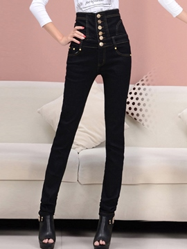Ericdress Slim Single-Breasted Jeans