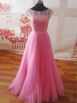 Ericdress Beading Bateau Neck Sleeveless A-line Floor Length Prom Dress