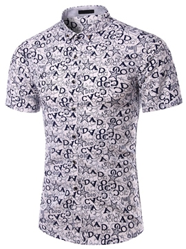Ericdress Short Sleeve Printed Casual Men's Shirt