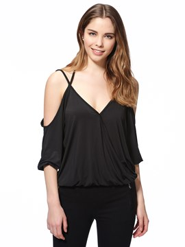 Ericdress Loose Asymmetric Off-Shoulder T-Shirt