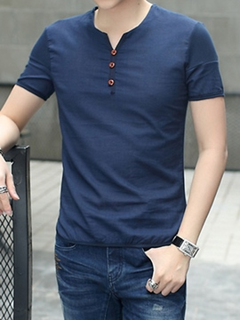 Ericdress Plain Casual V-Neck Men's T-Shirt