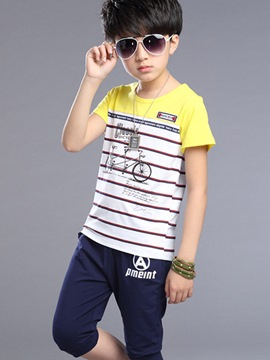Ericdress Color Block Strips Print Boys Outfits