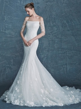 Ericdress Charming Off The Shoulder Lace Mermaid Wedding Dress With Sleeves