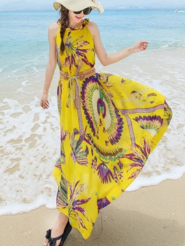 Ericdress Beach Halter Print Belt Maxi Dress