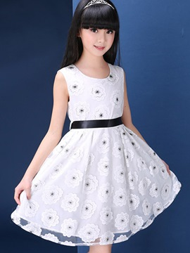Ericdress Floral Sleeveless Girls Dress